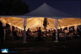 White mini lights are often used to create a light canopy inside tents and have a light and airy look to them. & Wedding Lighting | Big Tent Events
